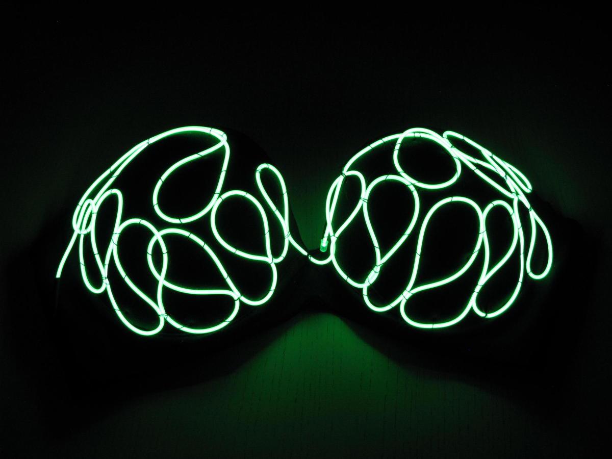 Electroluminescent Burning Man Bra 36C Green EL Wire Glow