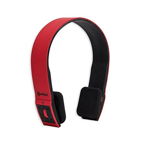 Connectland Wireless Bluetooth Headphone, Red