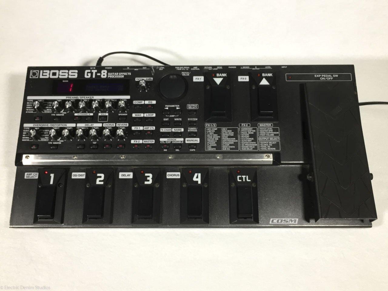 boss gt 8 guitar multi effects processor pedal electric denim studios. Black Bedroom Furniture Sets. Home Design Ideas